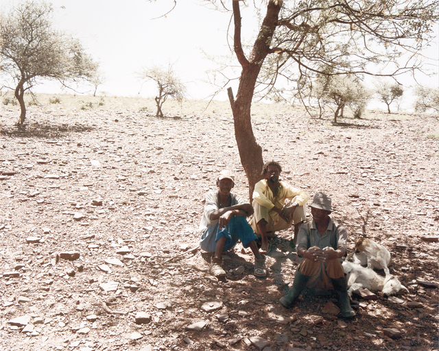 , 'Three men rest at the side of the track between Bute Asbestos Mine and Heuningvlei in Northern Cape. 18 December 2002,' , Artthrob