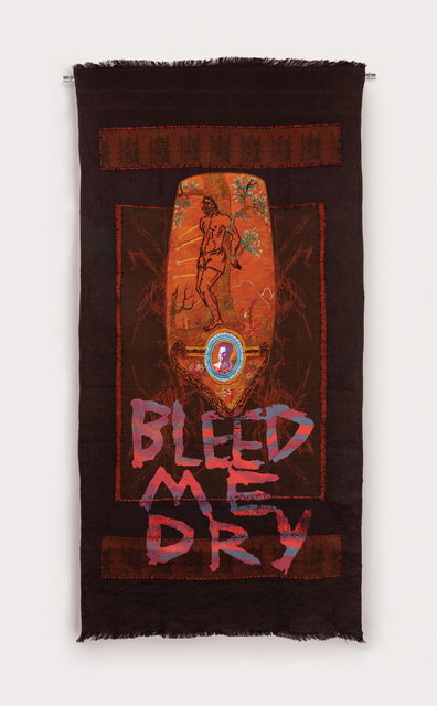 Henry Hussey, 'Bleed Me Dry', 2019, Painting, Digitally Printed Linen and Canvas, Dyed Hessian, Dyed Yarn, Bleached Velvet, Screen-Print, Embroidery, Anima Mundi
