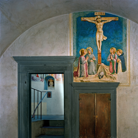 Robert Polidori, 'Crucifixion with the Virgin and Sts Cosmas, John the Evangelist and Peter Martyr by Fra Angelico, Cell 38 (foreground), Adoration of the Magi and Man of Sorrows, by Fra Angelico, Cell 39 (background) Museum of San Marco Convent, Florence, Italy', 2010, Flowers
