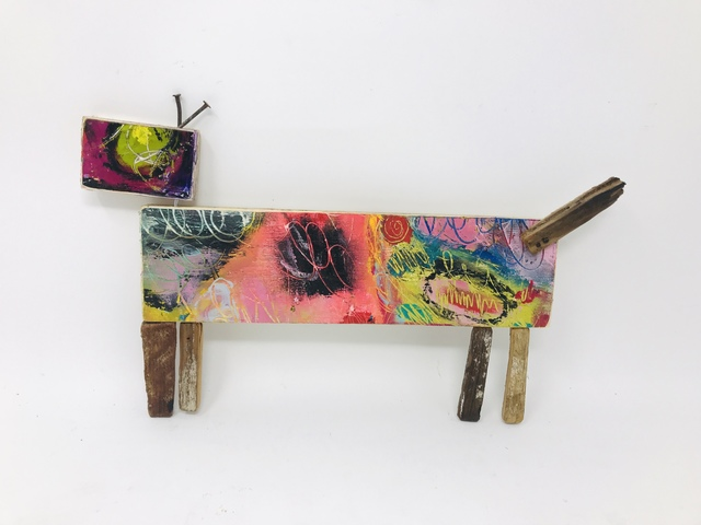 Robin Howard, 'Sausage Dog #2', 2020, Sculpture, Encaustic, acrylic, oil crayon, found wood., Miller Gallery Charleston