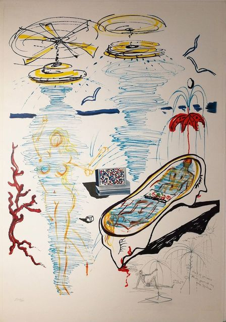 Salvador Dalí, 'Liquid Tornado Bath Tub', 1975, Drawing, Collage or other Work on Paper, Original Etching + Lithograph + Collage, Dali Paris