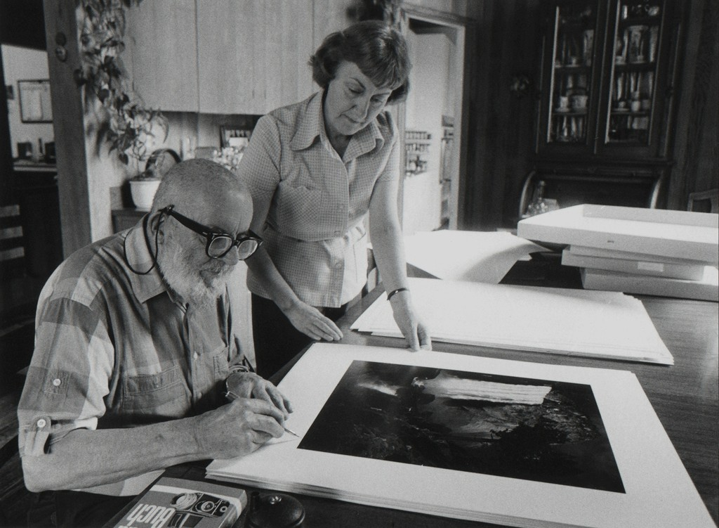 "Jim McHugh, ""Ansel Adams signing Museum Set with Phyllis, 1981"""