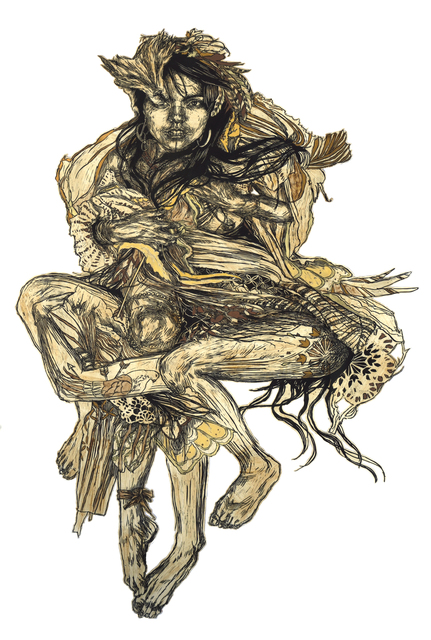 Swoon, 'Monica', 2010, Mixed Media, Original linocut print on mylar, handpainted with coffe and acrylic, DIGARD AUCTION