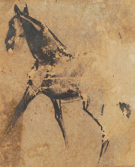 ", 'Horse III, Pastel on Sand Paper by Padma Shree Artist Sunil Das ""In Stock"",' 1950, Gallery Kolkata"