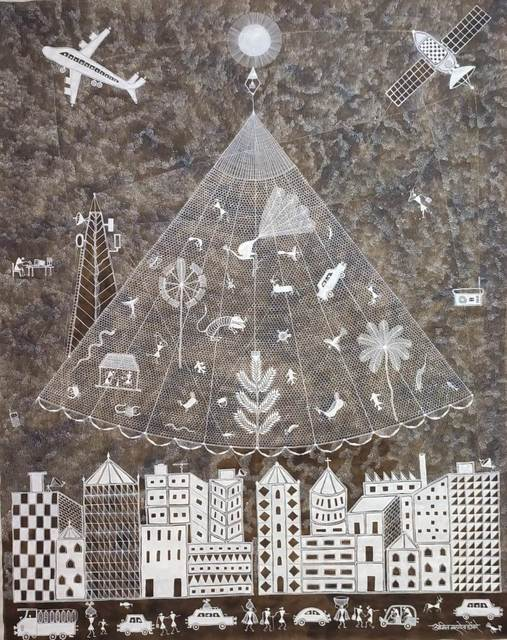 Amit Mahadev, 'FISH NET', 2020, Painting, Cow dung & paint on cloth, Arushi Arts