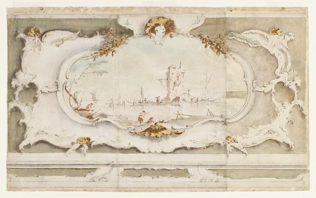 Francesco Guardi, 'Decorative Cartouche with a Landscape', ca. 1770, Cooper Hewitt, Smithsonian Design Museum