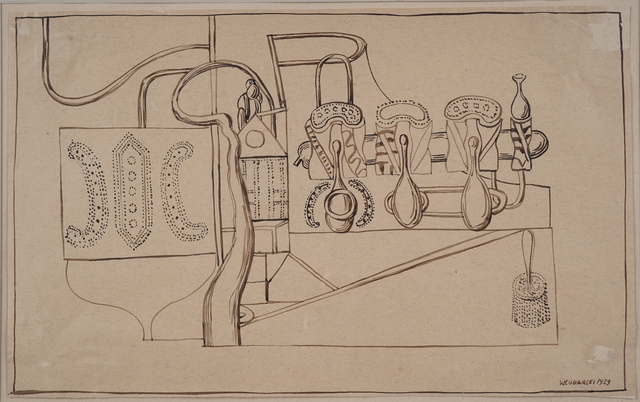 Henryk Streng/ Marek Włodarski, 'Composition with a brush', 1929, Drawing, Collage or other Work on Paper, Ink on paper, Olszewski Gallery