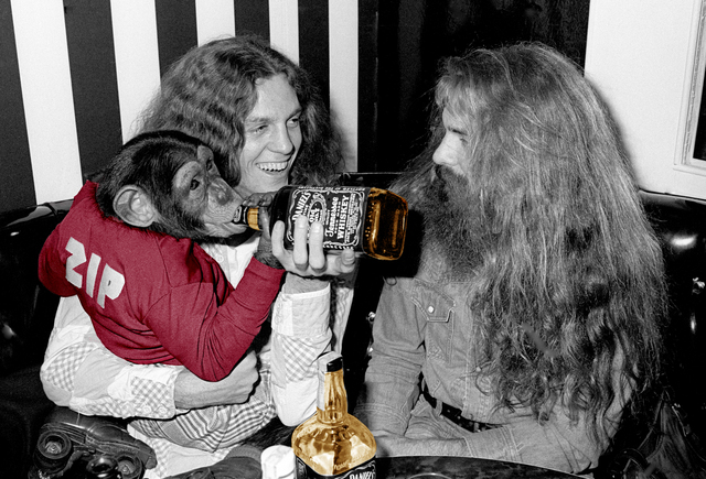 Richard E. Aaron, 'Lynyrd Skynyrd's Allen Collins with Roller Skating Monkey with Jack Colorized', White Cross