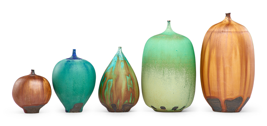 Five stoneware Feelies with blue, green and brown glazes