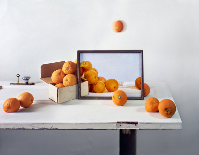 , 'Oranges, Painting on Door,' 2014, Richard Levy Gallery