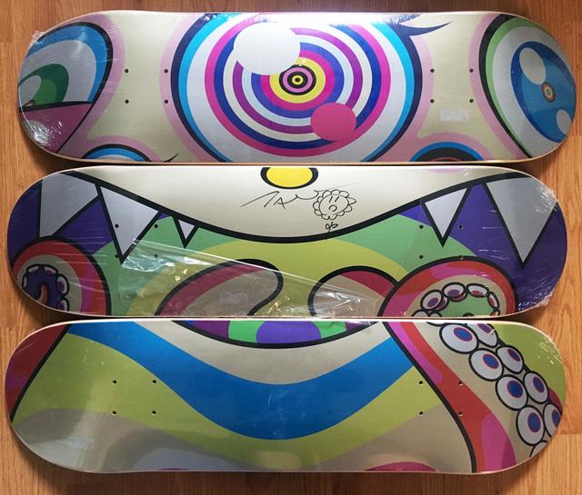 Takashi Murakami, 'Original Flower Drawing on skateboard set of 3', 2017, EHC Fine Art Gallery Auction