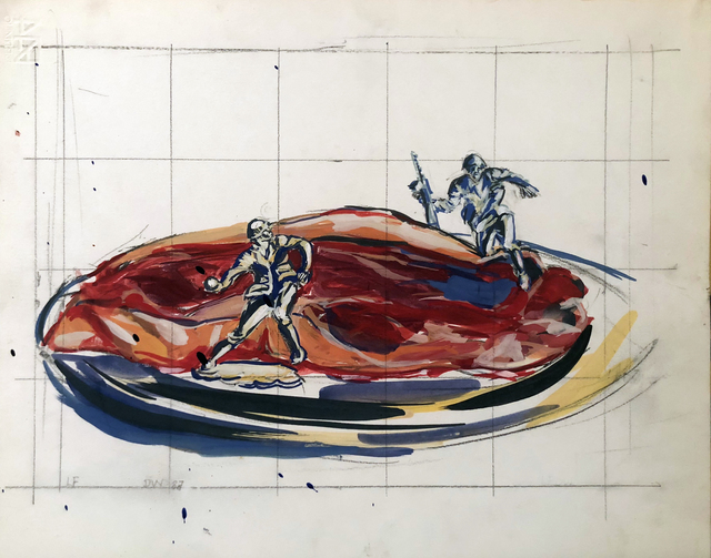 , 'Untitled (Steak on a Plate with Warriors),' 1987, Hal Bromm