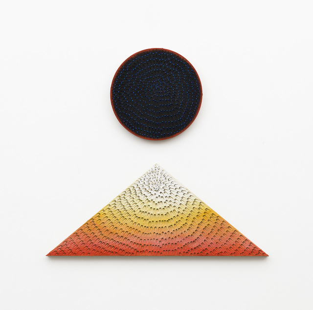 , 'Lunar Sunrise, Lunar Sunset (Diptych: Blue and Light Blue #2MT, Painted Yellow Sand SF #1R, Black and Orange, Yellow Ground; Black #1PT, Painted Yellow Sand SF #1T, White to Red Gradient, Yellow Ground),' 2019, David Kordansky Gallery