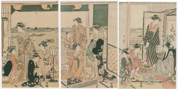 , 'View from the Ogi-ya Brothel of the Sumidagawa,' 1790, The Art of Japan