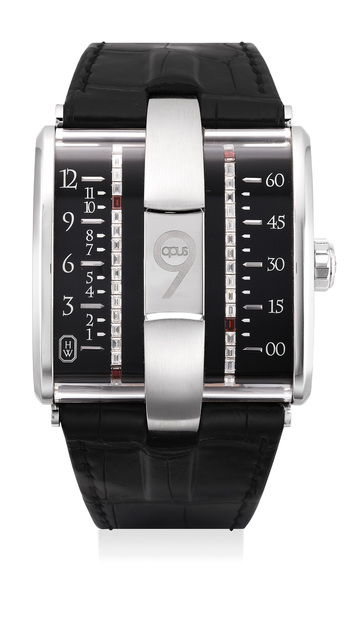 Harry Winston, 'A very fine and rare limited edition white gold, diamond-and-garnet-set wristwatch with belt time indicators, international warranty and presentation box, numbered 50 of a limited edition of 100 pieces', Circa 2009, Phillips