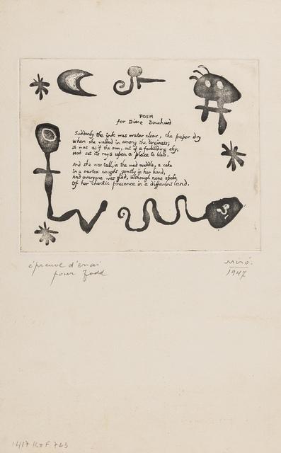 Joan Miró, 'A Poem for Diane Bouchard (See Duthuit Vol. 1 p.16-17)', 1947, Forum Auctions