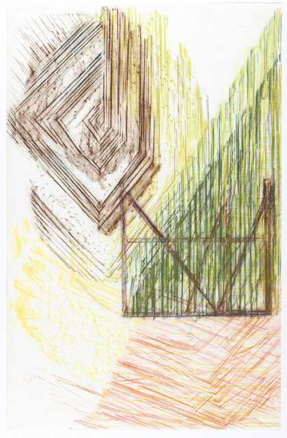 Olaf Holzapfel, 'Blick durch Glas', 2019, Drawing, Collage or other Work on Paper, Pastel chalk on japanese paper, PROVINZ