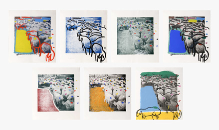 Menashe Kadishman, 'Sheep Portfolio (seven works),' 1981, Heritage Auctions: Holiday Prints & Multiples Sale