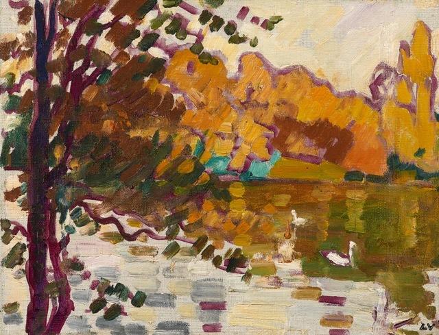 , 'Cygnes au Bois de Boulogne,,' 1935, Stoppenbach & Delestre