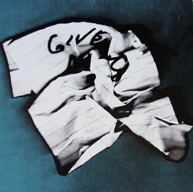 Charles Lutz, 'GIVE (Give Me Everything- Crumpled Robbery Note)', 2013, Painting, Acrylic and enamel silkscreen ink on canvas in artist frame, The Watermill Center Benefit Auction