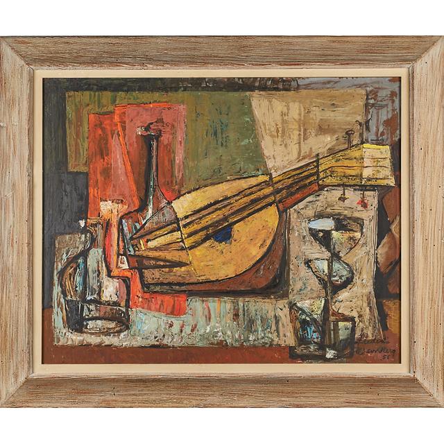 Frederic Weinberg, 'Untitled Painting (Still Life With Bottles And Mandolin), Philadelphia, PA', 1956 (framed), Rago/Wright