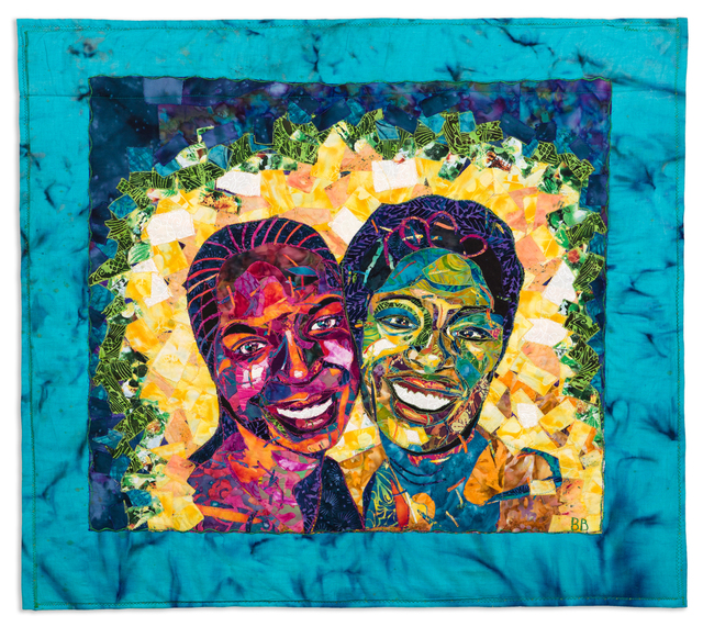 Bisa Butler, 'Nandi and Natalie (Friends)', 2007, Mixed Media, Quilted and appliquéd dyed cotton fabrics, Swann Auction Galleries