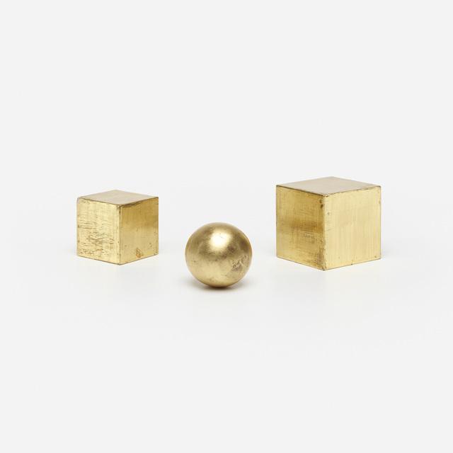 Mathias Goeritz, 'Dos Cubos y Esfera (three works)', c. 1961, Sculpture, Gold leaf on wood, Rago/Wright