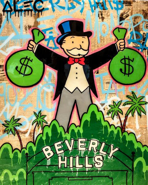 Alec Monopoly, 'MONOPOLY HOLDING 2 $ BAGS BEVERLY HILLS', 2018, Eden Fine Art