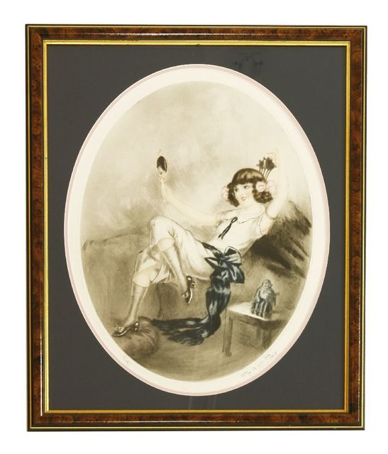 P Naillod, 'A LADY LOOKING IN A HAND MIRROR', Print, Coloured drypoint etching, Sworders
