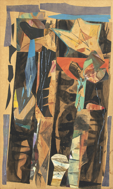 Rico Lebrun, 'Mexican Street in the Rain', 1954, Drawing, Collage or other Work on Paper, Collage, Heather James Fine Art