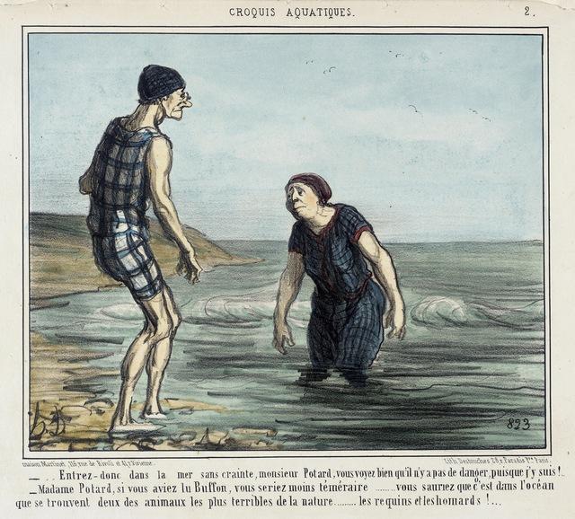 Honoré Daumier, 'Entrez donc dans la mer sans crainte... (Enter the sea without fear...)', 1856, Los Angeles County Museum of Art