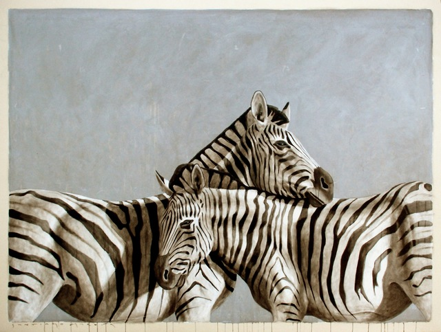 """, '""""""""Andante #46"""" Black White and Gray Large Scale Painting of Two Zebras Embracing,' 2010-2017, Eisenhauer Gallery"""