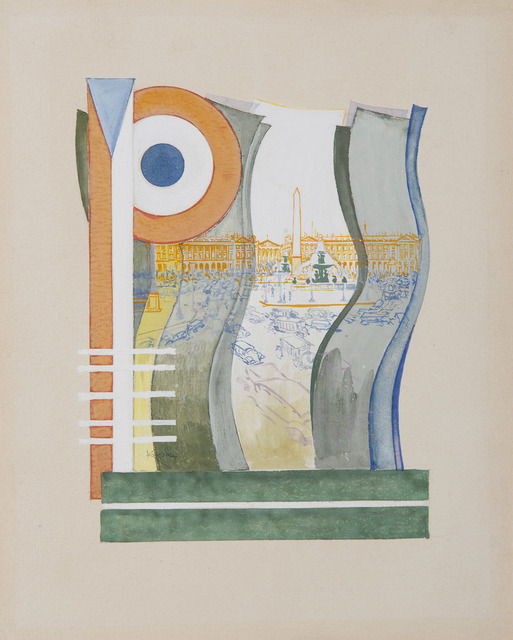 František Kupka, 'Paris, Place de la Concorde. ', 1919-1920, Drawing, Collage or other Work on Paper, Gouache and watercolor on paper, HELENE BAILLY GALLERY