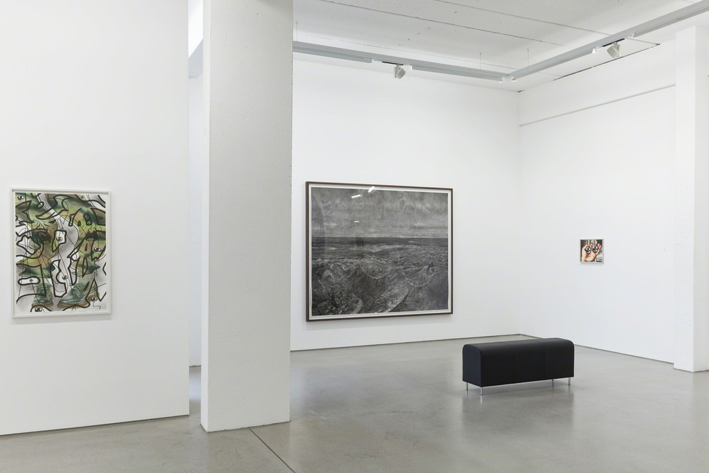"Installation view of the two person show ""Through a Glass, Clearly"" by Sebastian Burger and Stefan Guggisberg, G2 Kunsthalle, Leipzig (Germany), September 9, 2016 – January 15, 2017, from left to right: ""Diptam"" (2016, 100 x 70 cm) by Sebastian Burger, ""Element"" (2016, 195 x 245 cm) by Stefan Guggisberg, ""Lucia"" (2016, 35 x 45 cm) by Sebastian Burger (all works: oil on paper), photo: Dotgain © the artists & G2 Kunsthalle, Leipzig."