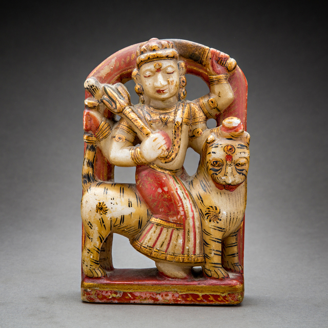 Unknown Asian, 'Polychromed Marble Sculpture of the Goddess Durga', 1700 AD to 1900 AD, Barakat Gallery