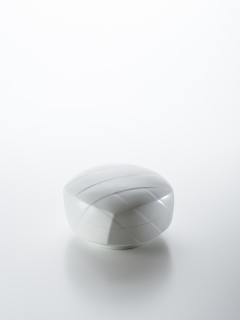 , 'Sculpted Blue-White Porcelain Lidded Box with Obi Pattern,' 2018, Onishi Gallery