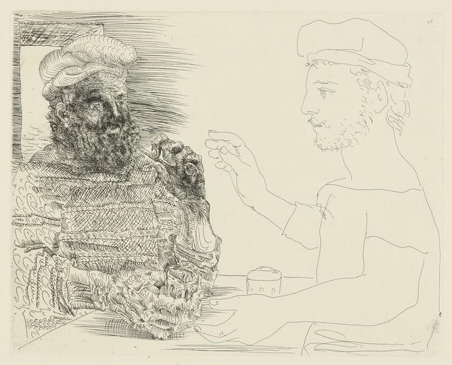Pablo Picasso, 'La Taberna. Jeune pêcheur catalan racontant sa vie à un vieux pêcheur barbu (B. 228; Ba. 442)', Print, Etching, Sotheby's