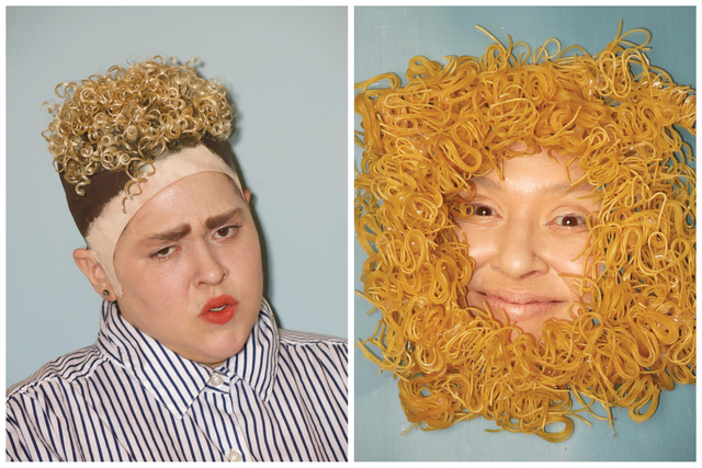 , 'Self-portrait as Justin Timberlake and Self-portrait as Ramen Noodles in Justin Timberlake's Hair Totally Looks like Dry Ramen Noodles by benhuh,' 2016, The Hole