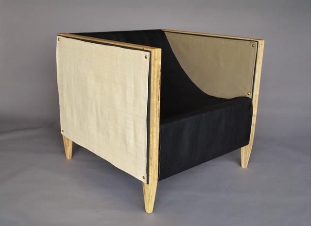 , 'Camp Club Chair, Cottonwood, Raffia, Black Leather,' , blankblank