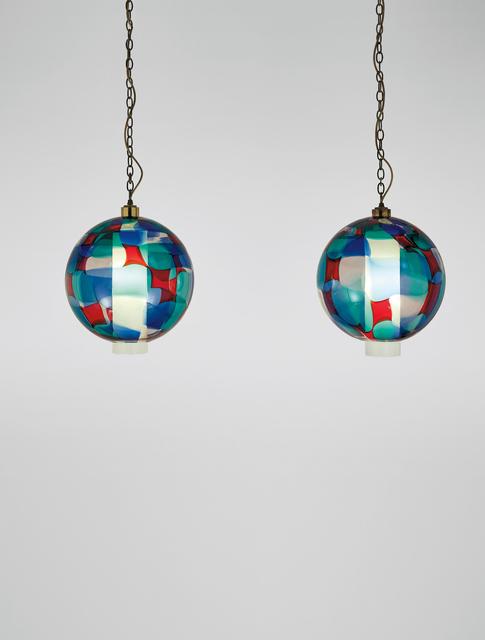 Fulvio Bianconi, 'Pair of rare ceiling lights', ca. 1950, Design/Decorative Art, *Pezzato *coloured glass, *lattimo *glass, brass, Phillips