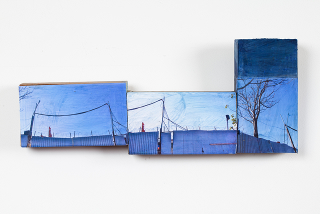 Karen Gibbons, 'Blue Blocks', 2012, Sculpture, Acrylic, collage and wood assemblage, 440 Gallery