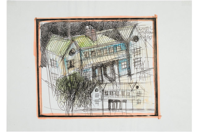 , 'Domestic American House drawing,' 1988, Casati Gallery
