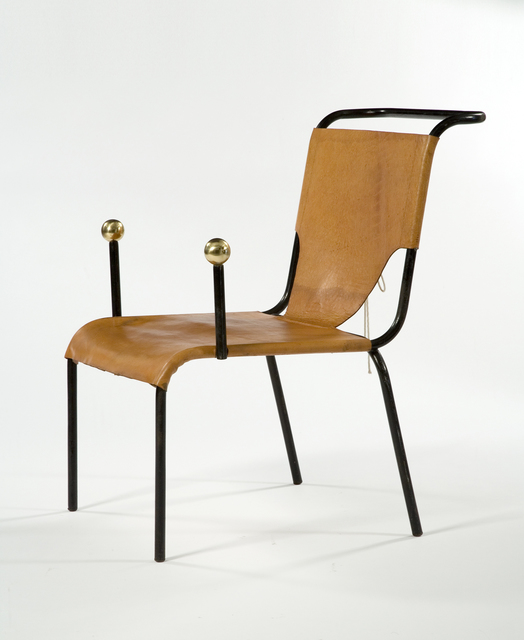 ", '""Bola"" armchair with black iron frame and leather seat and back with lace-up detailing. Designed by Lina Bo Bardi, Brazil, 1951.(seat: 16"" H),' , R & Company"