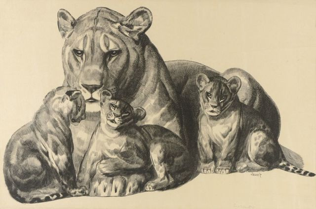 , 'Lioness and its Lion Cubs,' ca. 1930, Galerie Marcilhac