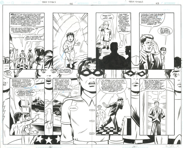 , 'TEEN TITANS The Lost Annual (2003) #1, pgs 46 & 47 Double-page JFK Splash,' 2003, Gallery 30 South