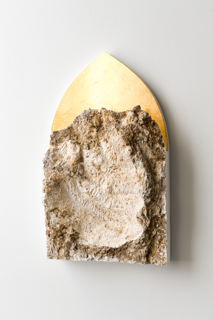 Shinji Turner-Yamamoto, 'Pentimenti #120', 2020, Mixed Media, Gypsum plaster mold of c.a. 400-milion-year-old coral fossil bed, 24kt gold leaf, gesso, clay bole, animal glue, natural resin, Sapar Contemporary