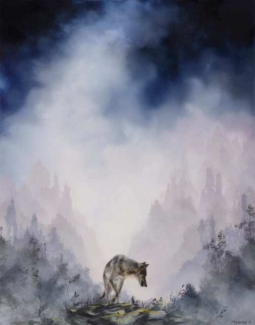 Brian Mashburn, 'Gray Wolf on Rocks', 2021, Painting, Oil on canvas, Haven Gallery