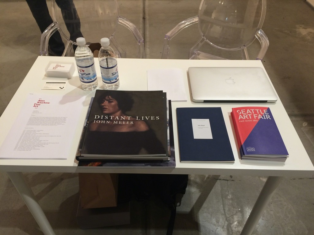 Table with John Meyer catalogues etc.