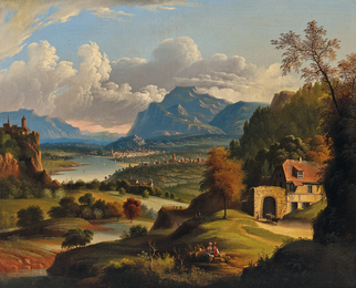 Idyllic Landscape with Lake, Castle, and Distant Town