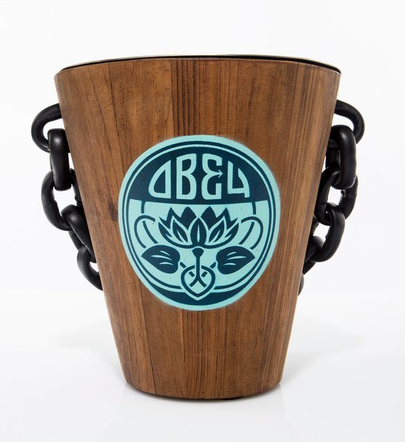 Shepard Fairey, 'Obey ALS Ice Bucket', 2016, Painting, Hand stencil acrylic on wood with metal interior, Heritage Auctions